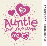 my auntie loves me kids tshirt... | Shutterstock .eps vector #202430521