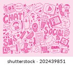 doodle communication background | Shutterstock .eps vector #202439851