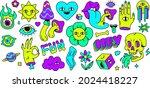 neon cartoon psychedelic hippy... | Shutterstock .eps vector #2024418227