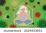 a sweet girl in a pandemic... | Shutterstock .eps vector #2024453051