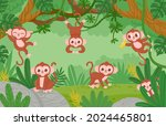 cute monkeys hanging on lianas... | Shutterstock .eps vector #2024465801