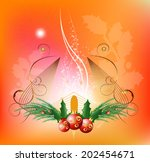 christmas balls with glowing... | Shutterstock .eps vector #202454671
