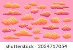 cartoon sunset cloud  fluffy... | Shutterstock .eps vector #2024717054