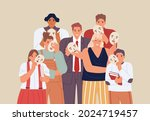 group of people covering their... | Shutterstock .eps vector #2024719457