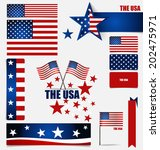 collection of american flags ... | Shutterstock .eps vector #202475971