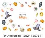 watercolor happy halloween card ... | Shutterstock . vector #2024766797