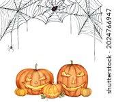 watercolor happy halloween card ... | Shutterstock . vector #2024766947
