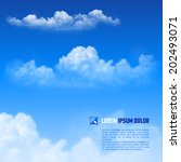 Fluffy white clouds on the sky  background. Down text - stock vector