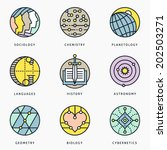 Illustrations and logo templates of fundamental science disciplines, research and education. Social, Chemistry, Astronomy, History, Geometry, Linguistics, Biology, Medicine, Cybernetics.  Vector set.