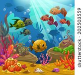 underwater world  vector... | Shutterstock .eps vector #202503559