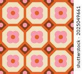 70s retro seamless pattern in... | Shutterstock .eps vector #2025049661