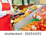 hand of salesperson using... | Shutterstock . vector #202514251