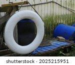 White Lifebuoy Swaying Old Pier ...