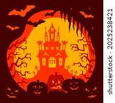 halloween card with castle ... | Shutterstock .eps vector #2025238421