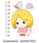 height chart with cute shy...   Shutterstock .eps vector #2025317921