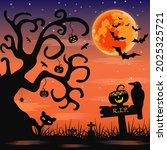 vector for silhouette halloween ... | Shutterstock .eps vector #2025325721