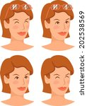 girl's head in different states | Shutterstock .eps vector #202538569