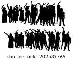 big crowds people of wedding on ... | Shutterstock . vector #202539769