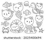 set of cute cat mermaid and... | Shutterstock .eps vector #2025400694