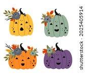 set of isolated cute pumpkins... | Shutterstock .eps vector #2025405914