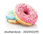 Three Glazed Donuts Isolated O...