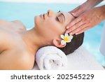 tranquil brunette getting a...   Shutterstock . vector #202545229