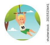 boy is swinging on a bungee in... | Shutterstock .eps vector #2025525641