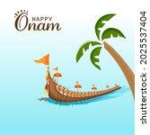 happy onam concept with vallam...   Shutterstock .eps vector #2025537404