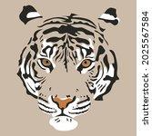 tiger portrait head vector hand ... | Shutterstock .eps vector #2025567584