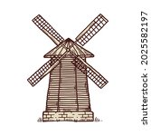 windmill icon. wooden building...