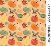 autumn seamless pattern with... | Shutterstock .eps vector #2025611687