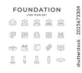 set line icons of foundation... | Shutterstock .eps vector #2025673304