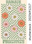 retro 70s daisy flowers...   Shutterstock .eps vector #2025691217
