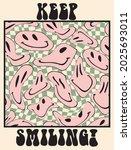retro 70s smiley emoji... | Shutterstock .eps vector #2025693011