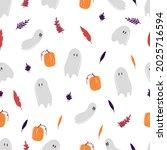 seamless pattern with halloween ... | Shutterstock .eps vector #2025716594