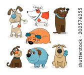 colored set of cute cartoon dogs | Shutterstock .eps vector #202576255