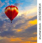 Red Flying Hot Air Balloon...