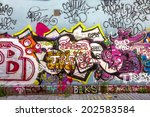 beautiful street art graffiti.... | Shutterstock . vector #202583584