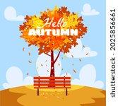 hello autumn landscape  city...   Shutterstock .eps vector #2025856661