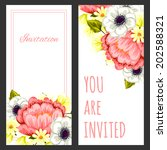 set of invitations with floral... | Shutterstock .eps vector #202588321