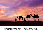 desert man with camel and great ... | Shutterstock . vector #202599787