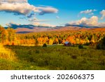 Fall Foliage Landscape With Mt...