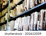 shelves full of files in an old ... | Shutterstock . vector #202612039