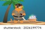 cartoon fat red grumpy cat... | Shutterstock .eps vector #2026199774