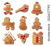 set of vector christmas ginger... | Shutterstock .eps vector #202627795