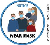 wear mask sign and symbol.... | Shutterstock .eps vector #2026345001