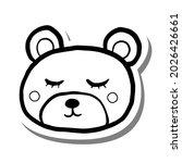 black line cute cartoon bear... | Shutterstock .eps vector #2026426661