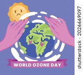 caring hands protect the ozone... | Shutterstock .eps vector #2026669097