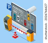 isometric parking lot displayed ... | Shutterstock . vector #2026766627