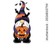 halloween gnome with a pumpkin... | Shutterstock .eps vector #2026810754